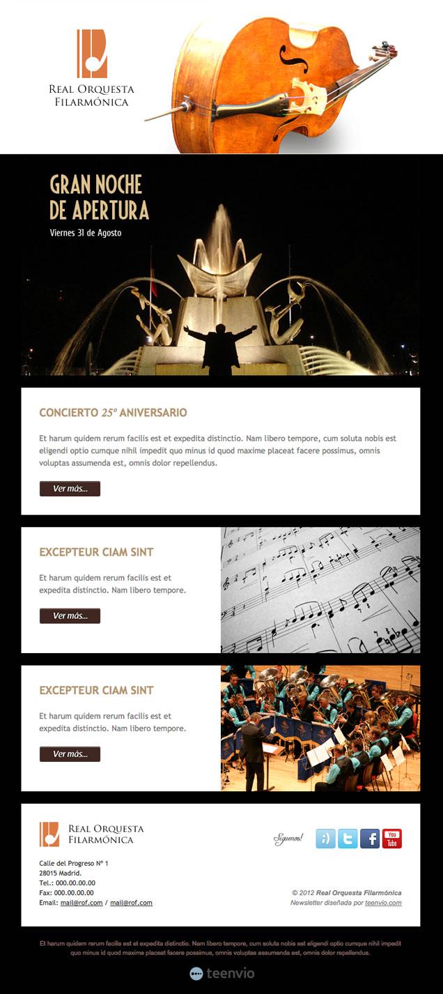 Orquesta, plantilla HTML gratis para Newsletter en email marketing
