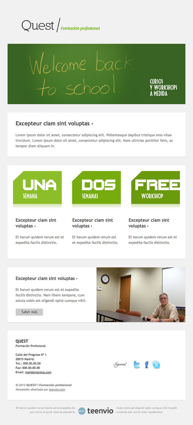 Plantilla Newsletter gratuita, Curso, para tus campañas de email marketing