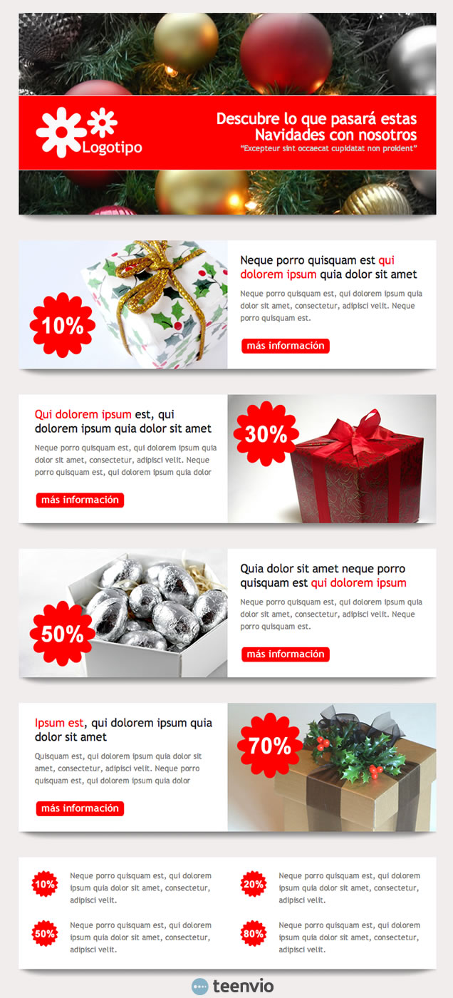 Regalo de Navidad, plantilla HTML para Newsletter en email marketing