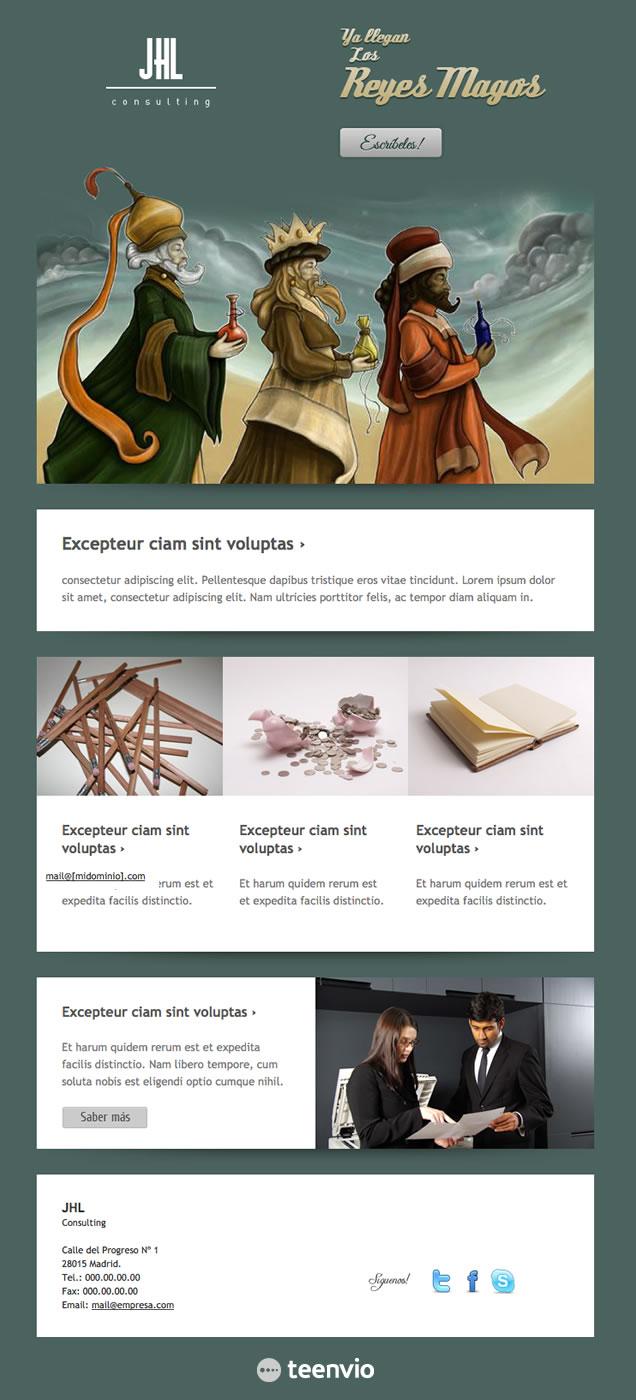 Plantilla Newsletter gratuita, Reyes Magos, para tus campañas de email marketing