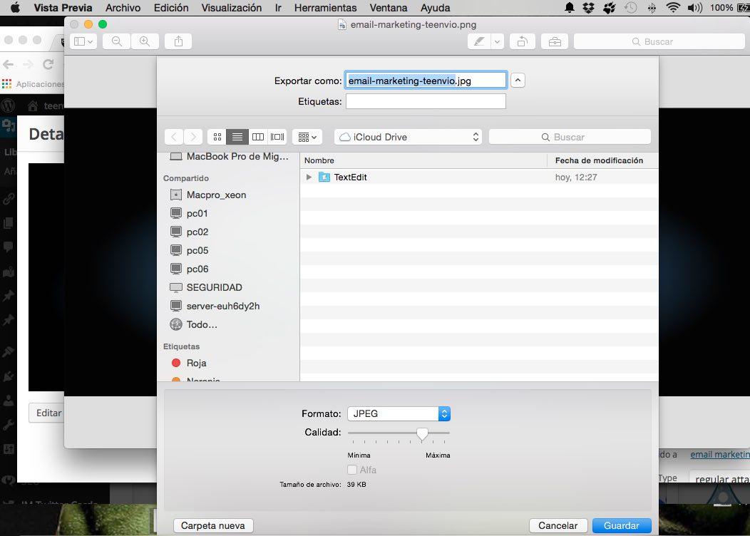Cómo optimizar imágenes Photoshop Mac Vista Previa
