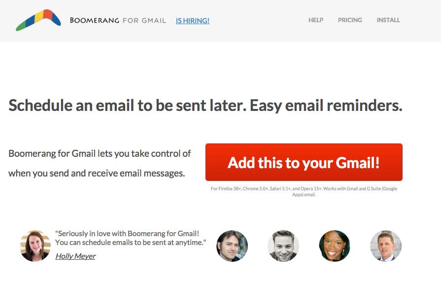 Programar envíos de Gmail con Boomerang