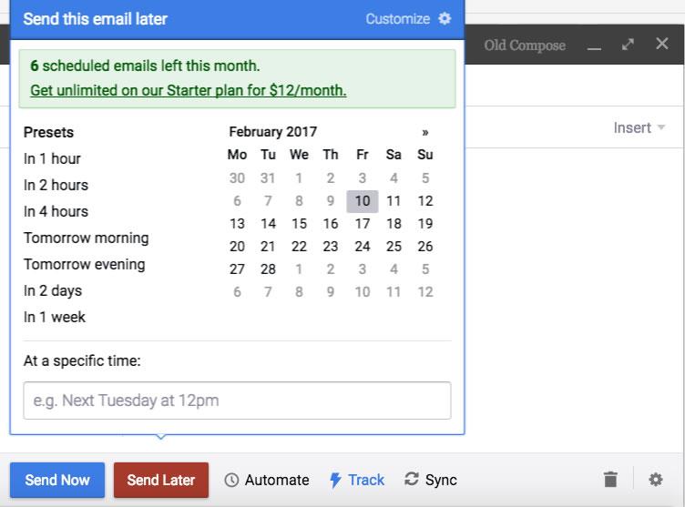 Programar un envío de Gmail más tarde