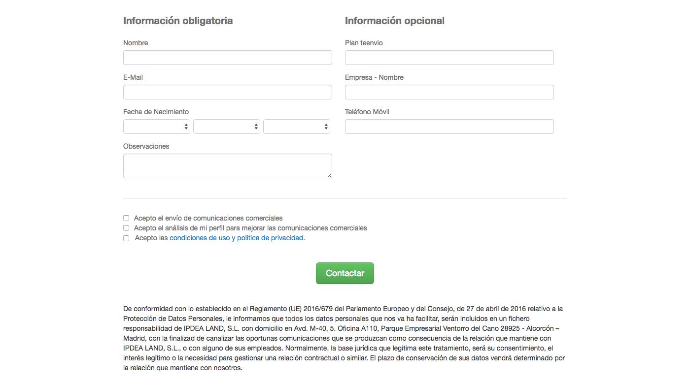 Email justificante de formulario de registro RGPD